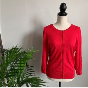 HALOGEN | Beautiful Red Button Up Cardigan - L